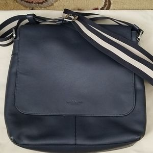 Coach navy leather shoulder bag with cotton strap